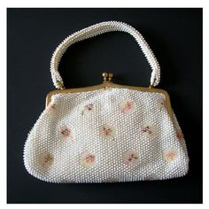 Corde-Bead Handbag by Lumured, White with Pink Flowers, Vintage 1950 Plastic Beads, Made in USA, Vintage Purse, Clothing Accessory