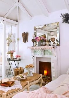 love the ceiling and decor, shabby chic, cottage charm, country