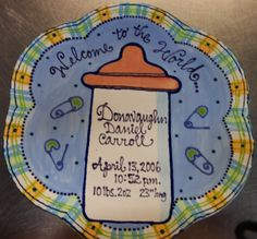 Baby bottle announcement plate!
