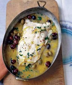 Roasted Pacific Cod With Olives and Lemon|For mouthwatering flavor, cover the cod (or another white fish filet) in dry white wine before roasting. Olives pack a rich, salty hit of flavor, try these other recipes: fish