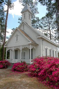 Beautiful country church with azaleas in full bloom.....