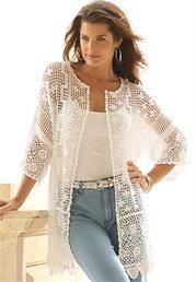 Love this Fashionable Scalloped Border Crochet Cardigan. #OneStopPlus #MustHave