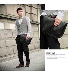 black/brown/coffee Ultra-thin leather shoulder messenger bag for men