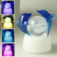 New Crystal LED Romantic Party Light with Ice Base Two Translucent Blue Dolphin and Ball Design Christmas Presents Christmas Decoration