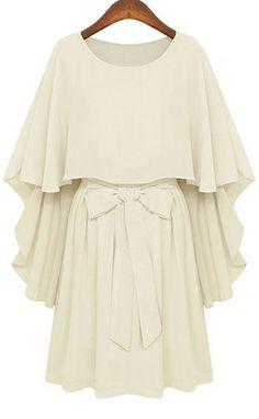 White Round Neck Bow Tie Waist Capes Top Chiffon Dress