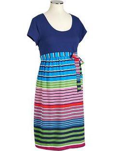 Maternity Multi-Striped Jersey-Top Dresses