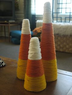 Just Flew The Coop: DIY Yarn Candy Corn Decor #Beanitos #Autumn