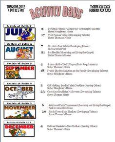 Activity Days Ideas: New Calendars