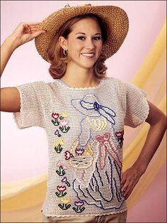 """The Flower Girl- Here's a very unique ladies top that will definitely collect many glowing compliments for your """"artistic"""" ability! Ladies sizes small (medium and large). Skill Level: Intermediate Designed by Belinda Carter free pdf from FreePatterns.com"""