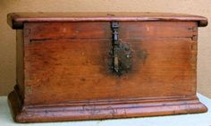 Colonial Keep Sake Trunk with Original Hand Forged Iron Straps and Lock. ~♥~