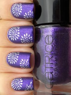 stamped purple nails