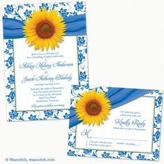 Yellow Sunflower French Blue Damask Floral Ribbon Wedding Invitation and Reply Card by wasootch  A great choice for a spring or summer wedding.