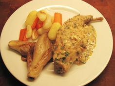 Recipe for Rabbit with mustard sauce, potatoes, turnips, carrots and Belgian endives