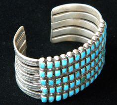 1930's five row Zuni turquoise bracelet
