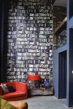 book wallpap, wallpap book, dream, bookshelf wallpap, reading nooks, librari, wallpapers, interior decor, abigail ahern