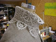 """Stunning punto-in-aria lace. It is indeed modern, as in """"made today"""", but is crafted with a technique common during the late XVI century: there is no fabric """"ground"""", only a skeletal framework of threads stitched on a paper pattern/card, which is obviously removed when the work is done."""