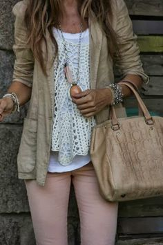 jacket, outfits, woman fashion, cloth, style, soft colors, pink pants, crochet tops, shirt