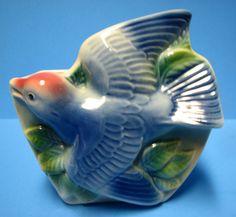 Royal Copley bluebird wall pocket
