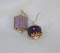 Boucles d'oreilles lilas et prune réversibles : Boucles d'oreille par zipette