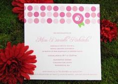 White with Pink Polka-Dots Wedding Invitations