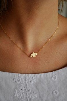 Tiny Gold Sideways Hamsa Necklace $28