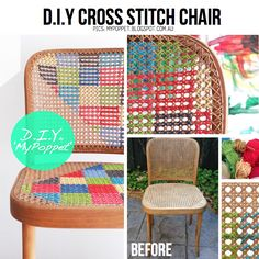 chairs painted pattern, cross stitch painting, crafti stuff, upcycl idea, stitch chair, diy chair, crosses, cross stitches, painted cross stitch