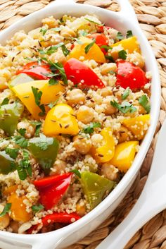 Bell pepper chick pea couscous. I'm a huge fan of the green veg +chick pea +couscous standard recipe.