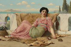 John William Godward: A Quiet Pet artists, artjohn william, john william godward, art prints, pets, paint, quiet pet, portrait, 1906