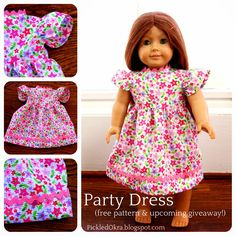 Free Party Dress Pattern for your American Girl Doll! dress patterns, doll cloth, pickl okra, party dresses, girl doll, doll dress, ag dolls, free parti, american girls