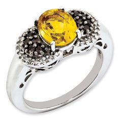 1.72 ct Sterling Silver Citrine and Smokey Quartz and Diamond Ring for $179.97
