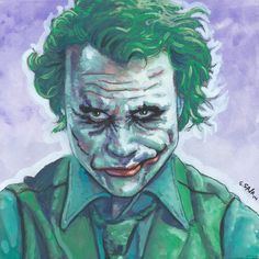 Heath Ledger as the Joker from The Dark Knight Done on 6x6 inch Aquabord with Winsor & Newton Gouache Paints