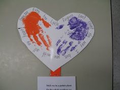 Handprint hearts for Mother's Day or other occassions.