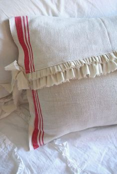 Ruffled tea towel pillow