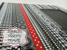 Ribbon & Prints Frame by Heidi Borchers. Featured on www.cool2craft.com #diycrafts