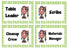"FREE LESSON - ""Table Job Labels (Green Polka Dot)"" - Go to The Best of Teacher Entrepreneurs for this and hundreds of free lessons.   Pre-Kindergarten - 12th Grade  #FreeLesson   #ClassroomManagement   http://www.thebestofteacherentrepreneurs.net/2013/01/free-misc-lesson-table-job-labels-green.html"