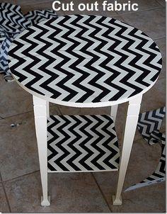 Fabric/resin/mod podge table!