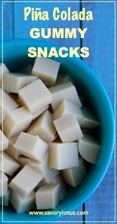 Piña Colada Gummy Snacks | diy pina colada, paleo gummies, paleo fruit snacks, pina colada gelatin, piña colada, gummi snack, colada gummi