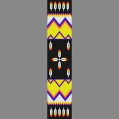 Native American Beading Patterns | Native American Mountain Feather Bead Pattern Loom Square or peyote ...