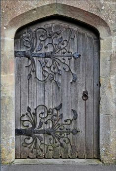 Beautiful Rustic Door. Absolutely love the hardware design, so beautiful.  #door #rustic #beautiful