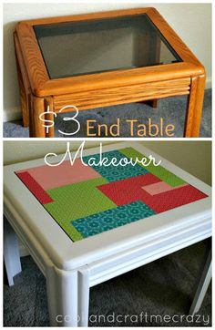 $3 End Table Makeover. From optometry office to darling girls room. http://cookandcraftmecrazy.blogspot.com/2013/07/3-end-table-makeover.html