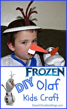 DIY Disney Frozen Olaf Craft - This Olaf hat and nose would make a fun FROZEN birthday party activity or party favor!