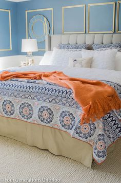 Gorgeous Navy blue + DIY gold trim master bedroom makeover / Grey tufted headboard