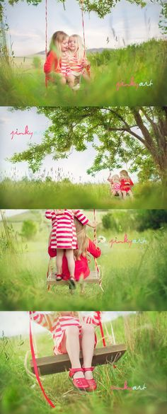 Love. Red. #photogpinspiration little girls, tree swings, jinki art, sibling photos, famili, red shoes, sister poses, sister pictures, sister pics
