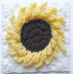 "A Ray of Sunshine, 6"" sunflower granny square, by Marie Segares, free through March, 2014 with coupon code NatCroMo14"