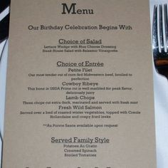 Give guests a menu at an event. Such a great special touch :)
