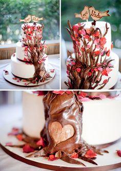 fall wedding cakes, heart, initials, trees, autumn weddings, fall weddings, leaves, birds, cake toppers