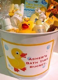 Yellow rubber ducky baby shower gift.  I can't  believe I found this idea! My next little grandson is going to be named Asher and should be here sometime in November! I can't wait! :)