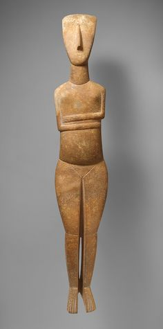 Female figure, 2600–2400 B.C. Early Cycladic, Keros-Syros culture, Marble
