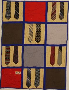 This is a great way to intersperse ties with shirts! 12 sq. Picnic Quilt with royal blue backing and sashing.