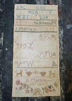 ANTIQUE SAMPLER A MARTIN 1845